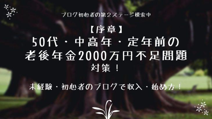 対策!50代・中高年・定年前の老後年金2000万円不足問題【ブログで収入】